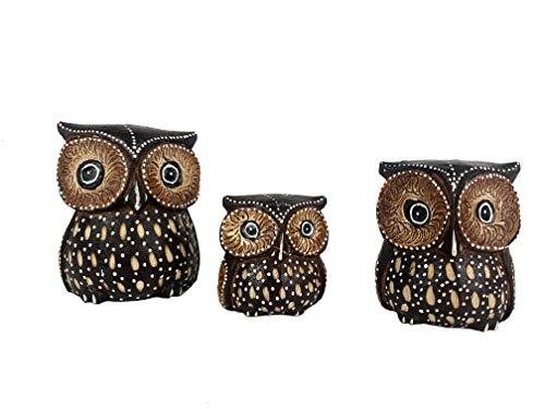 TH Set 3 Buhos de Madera - Decoración Hogar Figura Animales Modernos (Marrón, Grande)