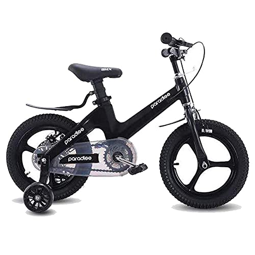 HUAQINEI Bicicleta para niños de 14'16' 18', Adecuada para niñas y niños de 3 a 13 años, Negra, Rosa