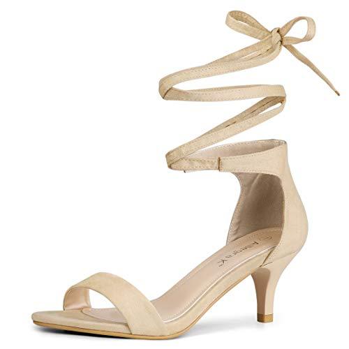 Allegra K Damen Peep Toe Kätzchen Absatz Lace Up High Heels Sandale Nude 38