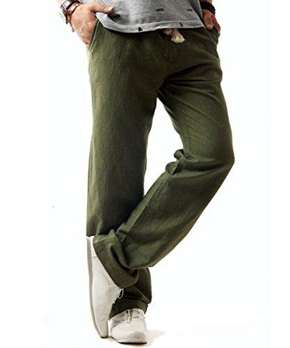 donhobo Herren Hosen Leinen mit Seitentaschen Lässige Hose Loose Freizeithose(Grün, 2XL)