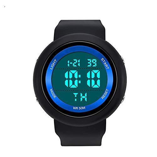 SXXYTCWL Solo la visualización electrónica del Reloj de los Hombres y de Deportes de Las Mujeres de múltiples Funciones a Prueba de Golpes Impermeable Reloj Estudiante jianyou (Color : Black Blue)