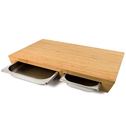 """cleenbo - Tagliere professionale extra large""""duo style Bamboo"""", tagliere grande in bambù oliato con 2 vaschette scorrevoli Gastronorm in acciaio inox GN 1/2, GN 1/3, dimensioni: 57,5 x 35 x 6,5 cm"""