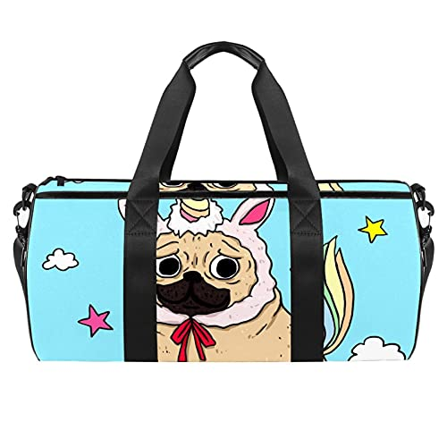 Blue Dog Unicorn Gym Bag para hombres y mujeres bolsas de fin de semana, bolsa de viaje con bolsillo impermeable