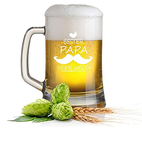 FORYOU24 Bierkrug Bierseidel mit Gravur Motiv Bester Papa der Welt- Geschenkidee Bierglas graviert Vatertag