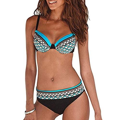 JFAN Costume da Bagno Sexy da Donna Imbottito da Bagno Push Up Bikini Stampa Tribale Swimsuit