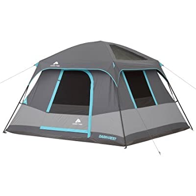 10' x 9' Ozark Trail Six-Person Dark Rest Cabin Family Camping and Adventure Tent, Includes a Gear Loft, Hanging Organizer, and Electrical Port Access and Ground Vent for Improved Air Circulation
