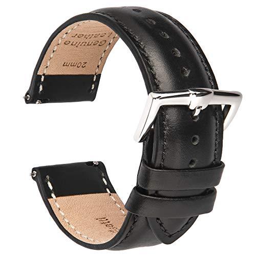 B&E Correa de Reloj de Cuero de Liberación Rápida - Correas de Estilo Elegante para Hombres y Mujeres - 16mm 18 mm 19mm 20 mm 21mm 22 mm (19mm, Black Leather)