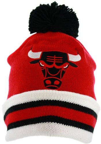 Mitchell & Ness Chicago Bulls Striped Cuffed Pom Beanie Knit