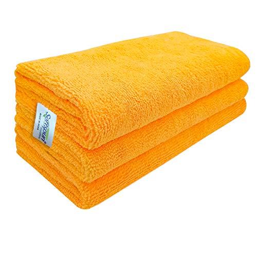 SOFTSPUN Microfiber Cloth - 3 pcs - 40x40 cms - 340 GSM Orange - Thick Lint & Streak-Free Multipurpose Cloths - Automotive Microfibre Towels for Car Bike Cleaning Polishing Washing & Detailing