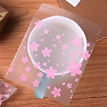 """200PCS Self Sealing Cookie Bags  4""""x5.5""""  Frosted Treat Bags Self Sealing Cellophane Candy Bags Self-adhesive Resealable Cellophane Bags Pink Floral OPP Plastic Dessert Bags for Bakery Candy Cookie"""