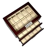 TimelyBuys 30 Cherry Wood Personalized Watch Box Display Case 3 Level Storage Jewelry Organizer with Glass Top, Stainless Steel Accents, and 2 Drawers Father's Day