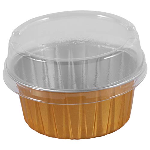 Tiamu 100Pcs Disposable Aluminum Foil Baking Cups Creme Brulee Dessert Oval Shape Cupcake Cups with Lids Cake Egg Tools