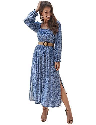 KANCY KOLE Women Plus Size Maxi Dresses for Women Ruffle Long Sleeve Dress Summer Long Smocked Dress (Blue,XL)