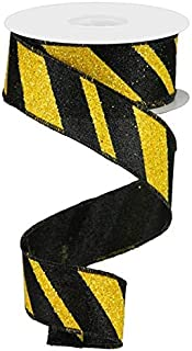 Wired Ribbon Glittered Black and Yellow Giant Diagonal Lines 1.5