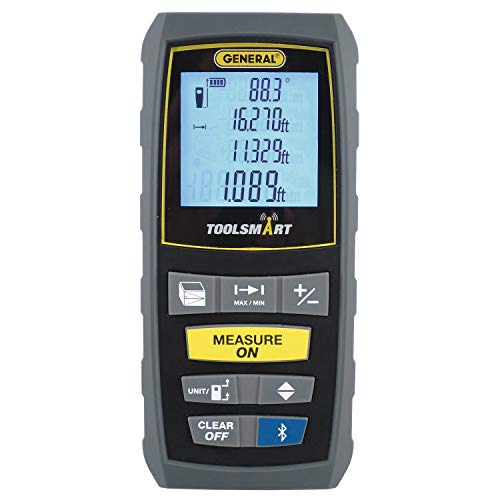 General Tools TS01 100' Laser Measure, Bluetooth Connected, Calculates Area, Distance and Volume, Real-Time Measuring