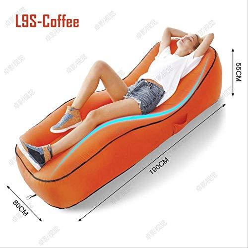AHJSN Saco de Dormir al Aire Libre Sofá Inflable para Turismo Camping Colchón Playa Lazy Bag Bed Air Hamaca Cama Federación de Rusia L9S Café