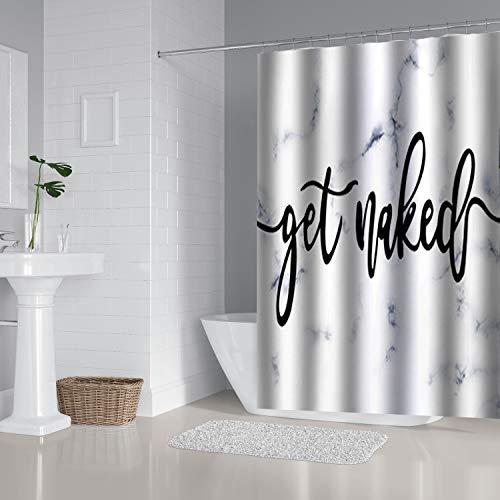 Zengmei Duschvorhang-Set, 177,8 x 177,8 cm, mit lustigem Zitat, langlebig, wasserdicht, Polyester, Badezimmerdekoration, Stoffstoff + 12 Haken (blau-grauer Marmor)