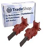 Escobillas de carbón para motor (2 unidades, 5 x 12,5 x 32 mm, con soporte para motor Welling, como...