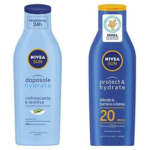 Nivea Sun Protect & Hydrate Latte Solare Idratante FP20, 200 ml + Nivea Sun Latte Doposole Hydrate, Rinfrescante e Lenitivo con Aloe Vera, 200 ml