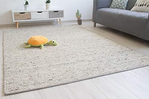 Steffensmeier Handweb Teppich Laufenburg | Wolle (Schurwolle), Natur Grau, handgewebt, Größe: 170x230 cm Wohnzimmer und Schlafzimmer