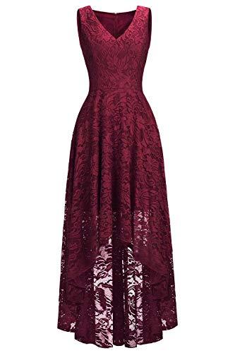 MisShow Damen Vintage Kleid V-Ausschnitt Tanzkleid Spitzen Abendkleid vorn kurz hinten lang Kleid GR. 36