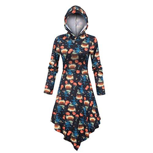 Mirlise Women's Mini Dresses 3D Halloween Print Long Sleeve Hooded Winter Asymmetric Dress