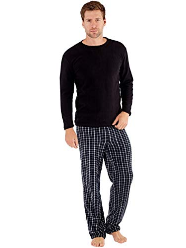 SaneShoppe Herren Thermal Top, Polar Fleece Hose Pyjama Sets Schwarz-M