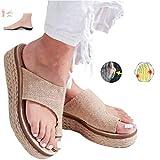 EVR Nuevas Mujeres Cómodas Sandalias Corrector De Juanetes Ortopédico para Mujeres Zapatos Ortopédicos de Corrección de pie de Dedo Gordo Corrector de Juanetes Ortopédico,Caqui,37