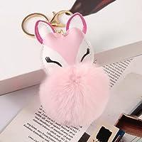 かわいいキツネの毛皮のボールバッグのペンダントの模倣ウサギの髪のボールぶら下がっている車のキーバックル工場卸売10パック