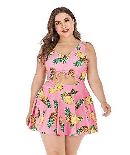 Bycc Bynn Traje de banho feminino tamanho plus size com estampa floral halter maiôs de uma peça Biquínis Conjuntos, 2G - 5G (Rosa, 2G)