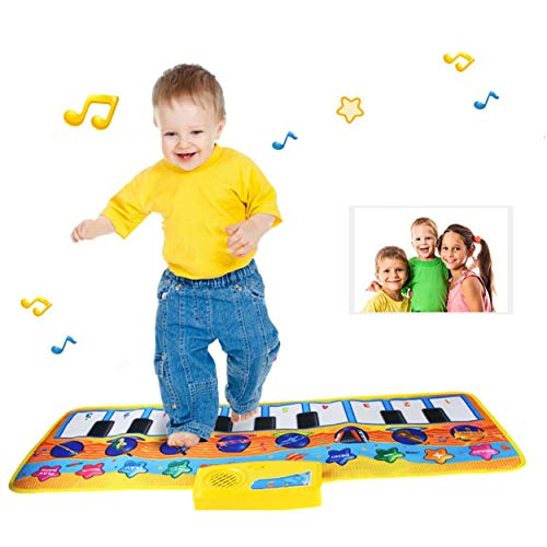 Lorenlli Juguete musical innovador para niños, piano, juguetes, colchoneta para bebé, patrón animal encantador, juguete suave patada de juguete mat CP2303