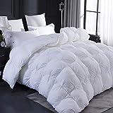 LESNNCIER Cal King Size Goose Down Comforter, Ultra Soft 100% Egyptian Cotton Cover,All Season Pinch Pleat Design Goose Down Duvet - 800 Fill Power(King Size)