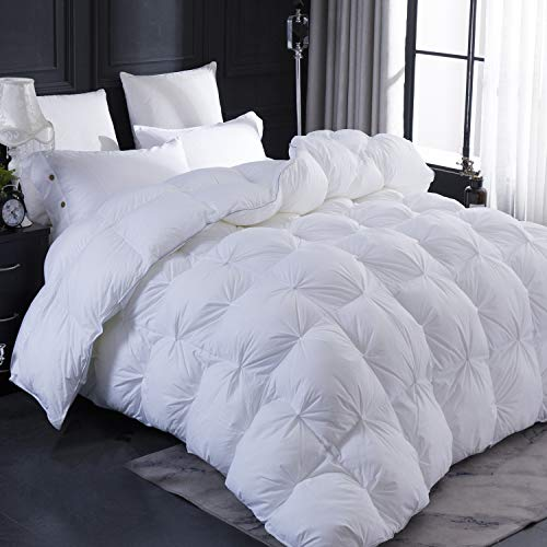 LESNNCIER Cal King Size Goose Down Comforter, Ultra Soft 100% Egyptian Cotton Cover,All Season Pinch Pleat Design Goose Down Duvet - 800 Fill Power(King Size)