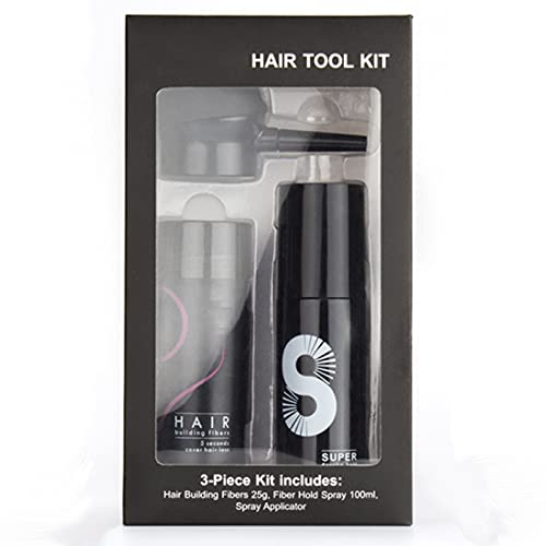 FluffUp Secret Hair Fiber Powder, Spray de fixation des fibres épaississantes pour le renforcement des cheveux, Épaississant et topper pour cheveux fins, Fibres capillaires unisexes (Noir)