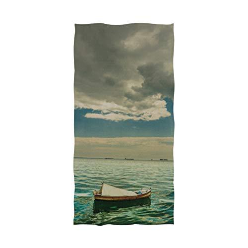 WDDHOME Toallas Finas para Viajar Un Barco Solitario Debajo de un árbol La Mejor Toalla de Playa Extra Grande 64 x 32 Pulgadas para Nadar, Hacer Ejercicio, Practicar Deportes, Yoga