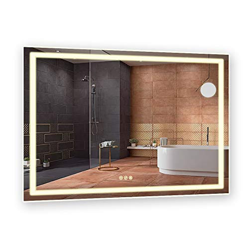 B&C 48x36 inch Super Slim Bathroom Mirror Vertical or Horizontal|LED Lighted|Polished Edge Frameless|Defogger and Dimmer with Memory|Touch Switch|Non Copper Silver Backed