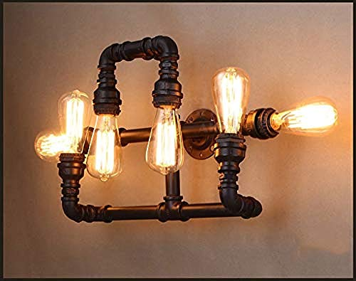 Beleuchtung Wandleuchte Fünf Lampenhalter Retro Industrie Restaurant Wind Lampe Eisen Shisha Kaffee Wandleuchte E27
