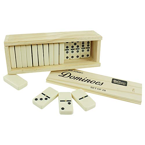 Pureplay Classic Dominoes Double 6 Jumbo Game Set, 28 Pieces Double 6 Domino Set in Durable Wooden Box,for Adults,Family Nights,Friends Entertainment and Anytime Use,2-4 Players