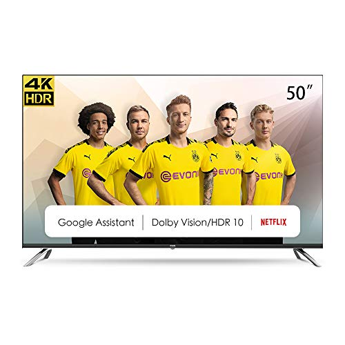 CHiQ U50H7A Randloser Android UHD LED Fernseher 50 Zoll TV 4k Randlos Smart TV 126 cm Bilddiagonale [Made in EU] (Version 2020, Ultra HD, Prime Video und Chromecast)