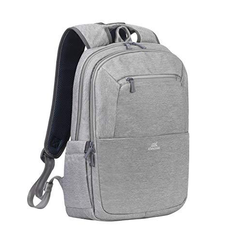 Rivacase Rucksack – wasserfester Rucksack mit Laptopfach (15,6 Zoll) & Tablet-Tasche (10,1 Zoll) – Dank Trolley-Gurt ideal als Reiserucksack – Laptop Rucksack aus Polyeste (Grau)