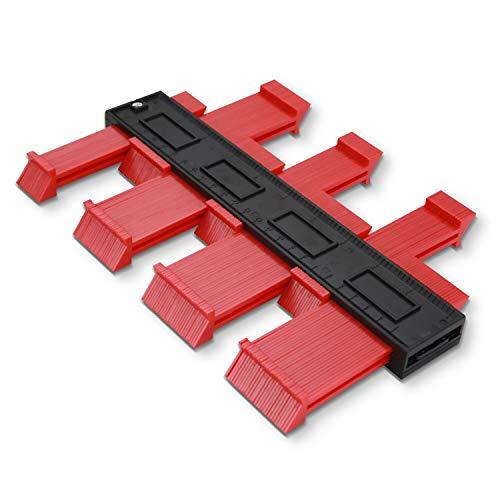 FORMIZON Medidor de Contornos, 25cm Herramienta de Medición de Perfil Irregular, Medidor de Duplicador de Contorno Suelo para Azulejos Edge Shaping Madera Medida & Azulejos laminados (Rojo)