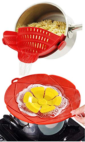 altCookingHub Silicone Clip On Pot Strainer & Spill Stopper Lid Cover Set - Food Grade, BPA Free, Heat Resistant Pot Colander & Boil Over SafeGuard Pot Cover Fits Most Pots & Pans
