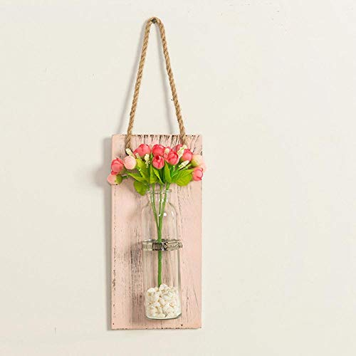 Vase WanddekorationInnovative Blumenvase Regal HängendeHolzplatte Blumen TopfHängenFür Wanddekoration Countyard Garden Pink