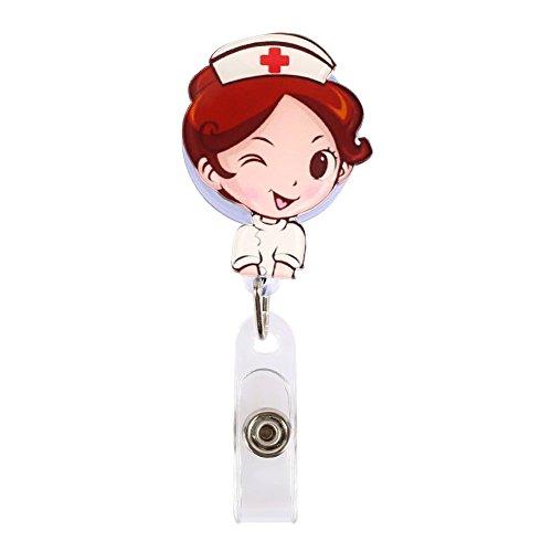 1 Pieza Retráctil De Carrete Id Clave Titular De La Insignia Del Trabajador Del Hospital Patrón, Enfermera Linda
