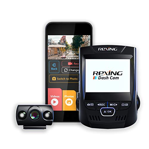 """Rexing V1P 2.4"""" LCD FHD 1080p Wi-Fi 170 Degree Wide Angle Dual Channel Dashboard Camera Recorder Car Dash Cam with Rear Camera, G-Sensor, WDR, Loop Recording Mobile App Supercapacitor"""