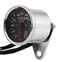 SANON アルミ合金ユニバーサルオートバイデジタル走行距離計スピードメータータコメーターゲージledインジケーターシルバー