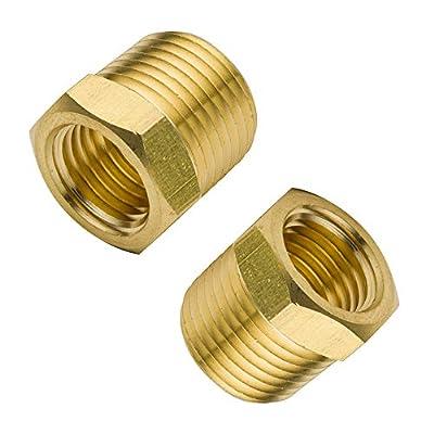 "Legines Brass Pipe Fitting ,Hex Bushing,1/4""x1/8"", 3/8""x1/8"", 3/8""x1/4"", 1/2""x 1/8"", 1/2""X1/4""(Pack of 2)"