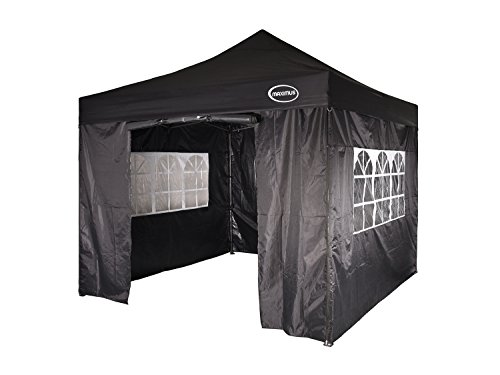 MAXIMUS HEAVY DUTY GAZEBO 3m x 3m GAZEBO MARKET STALL POP UP TENT With 4 Sides (Black)