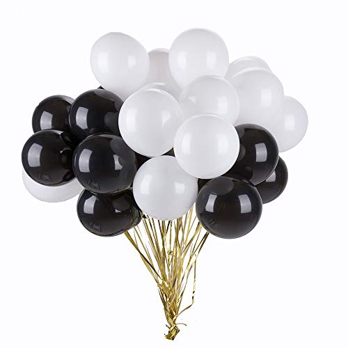 Tim&Lin 5 inch Black and White Balloons Quality Small White and Black Balloons Premium Latex Balloons Helium Balloons Party Decoration Supplies Balloons, Pack of 200