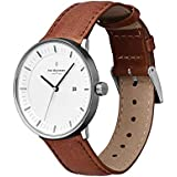 Nordgreen Philosopher Scandinavian Gun Metal Men's Analog 40mm (Large Face) with Brown Leather Strap 10007